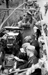 Gen Heinz Guderian, WWII Wehrmacht, overseeing Enigma operation, B/W