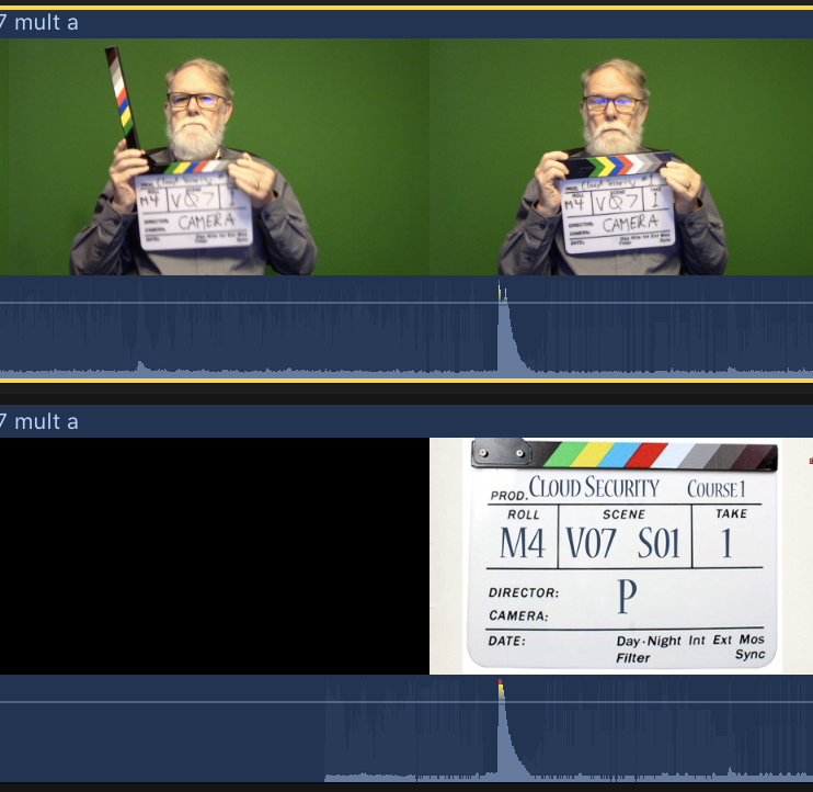 Using a clapper board to sync audio and video