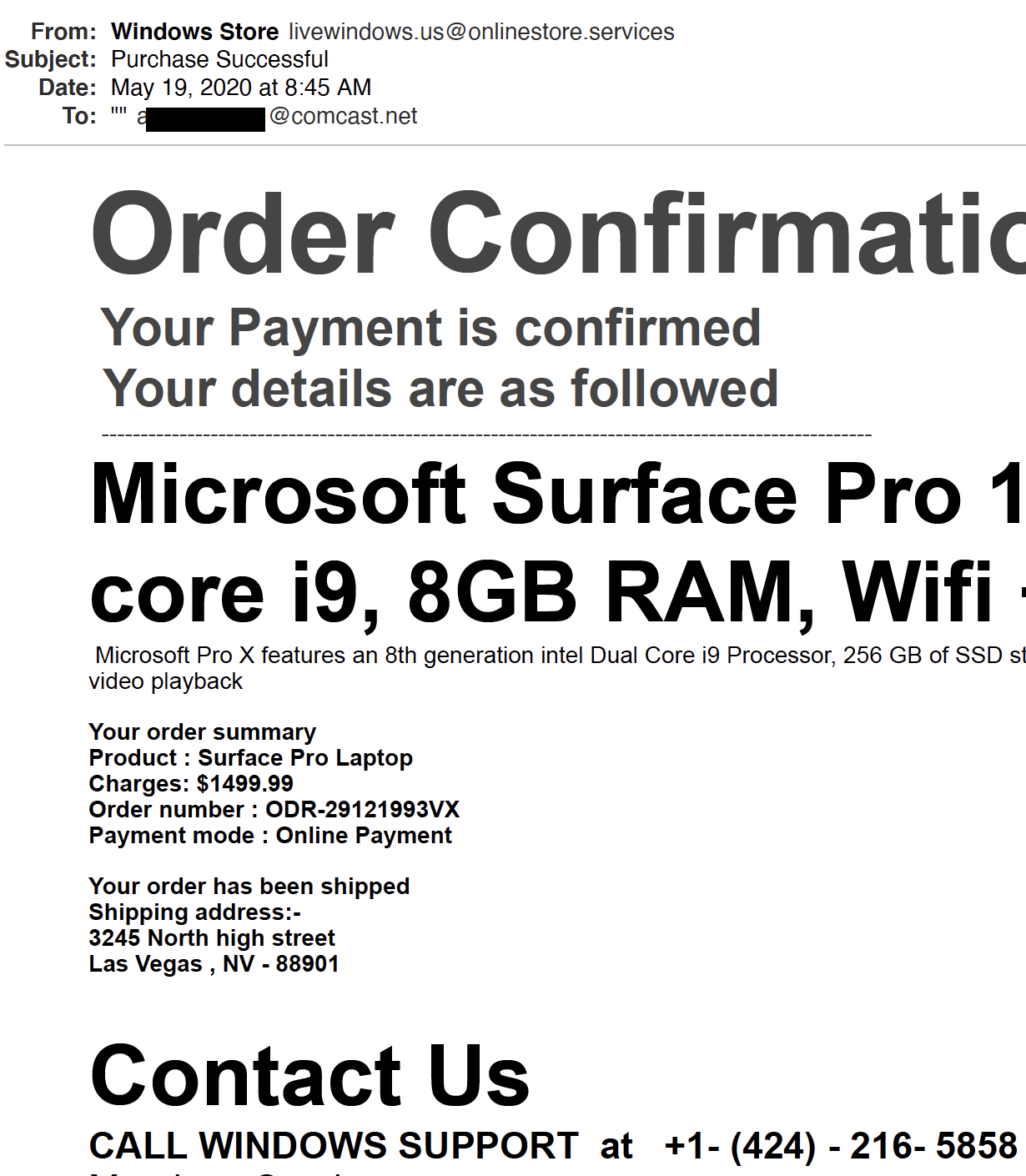 Phone phishing email excerpt