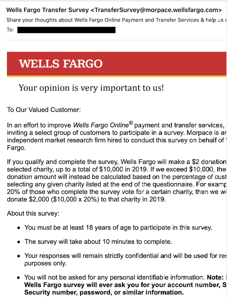 Dubious email from Wells Fargo